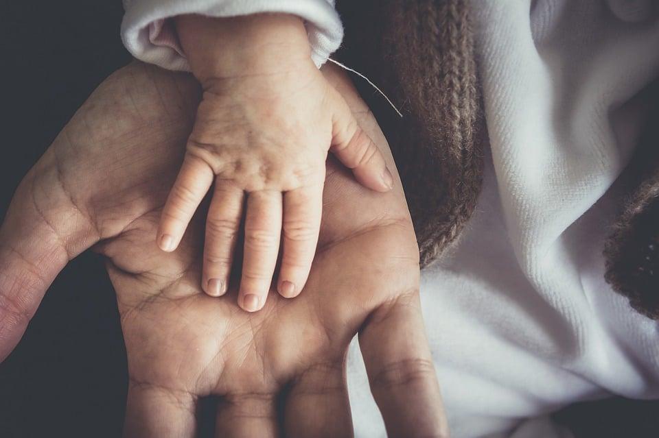 main d'enfant dans main d'adulte